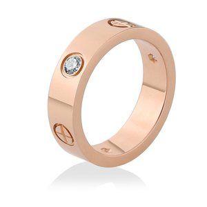 Gold Cross Stainless Steel Zircon Ring W Stone